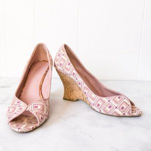Kenneth Cole Reaction Pink and Cream Cork Wedges